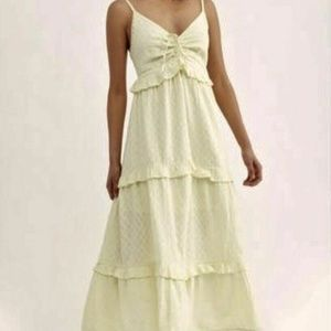 New Free People Maxi Dress Lemon Belong to you Tie